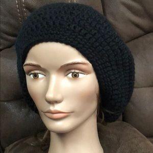 Black slouchy hat adult or teen handmade